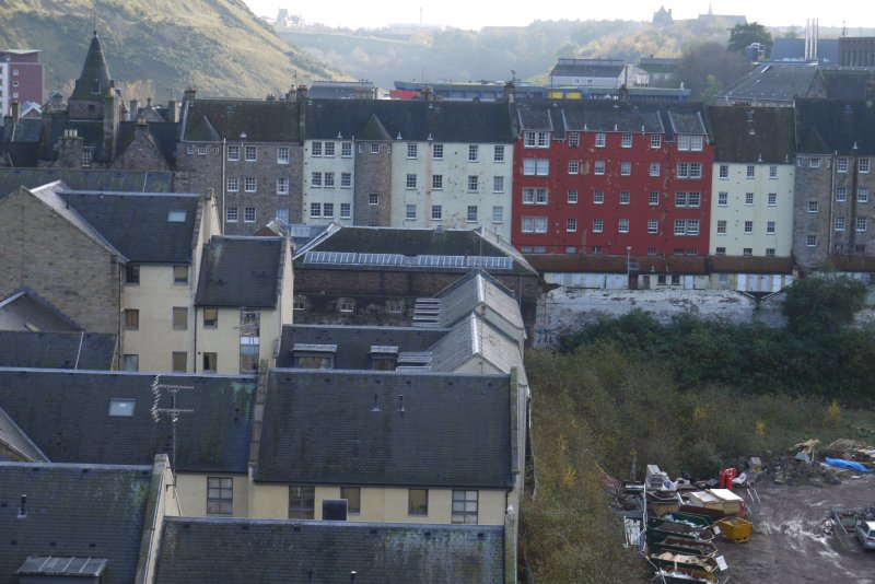 Elevated view from south showing site of Gasworks, New Street, Edinburgh, with tenements at 181-223 Canongate and modern housing in Old Tolbooth Wynd visible.