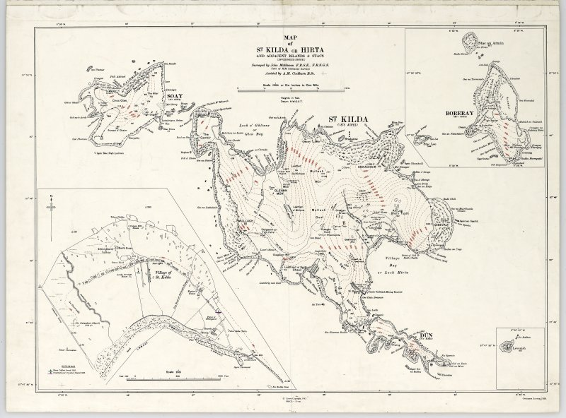 Map of St Kilda or Hirta and adjacent islands and stacs (1963). Annotated with position of antiquities noted on original.