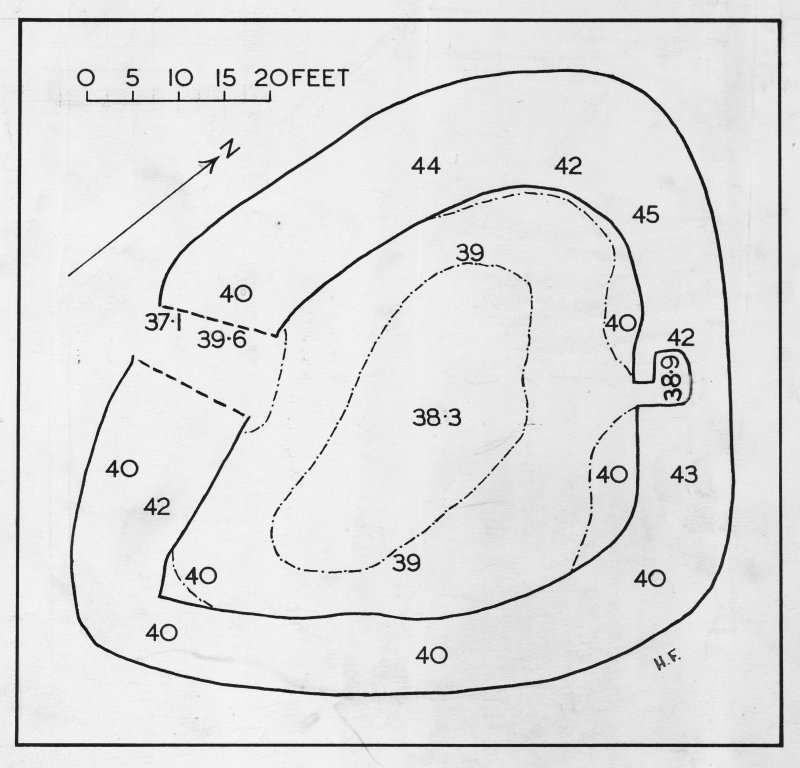 Excavation drawing : plan of Kildonan fort. PSAS LXXIII fig 9.