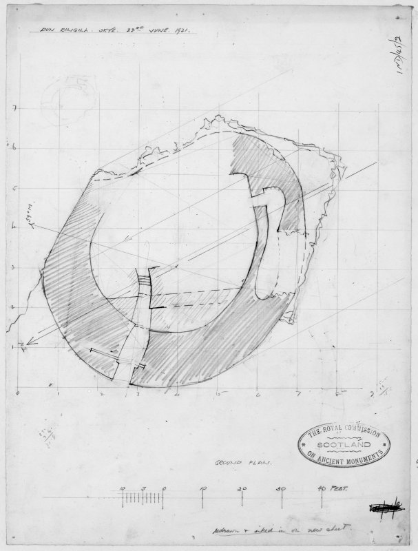 Survey drawing, lower level plan of Dun Ringill.