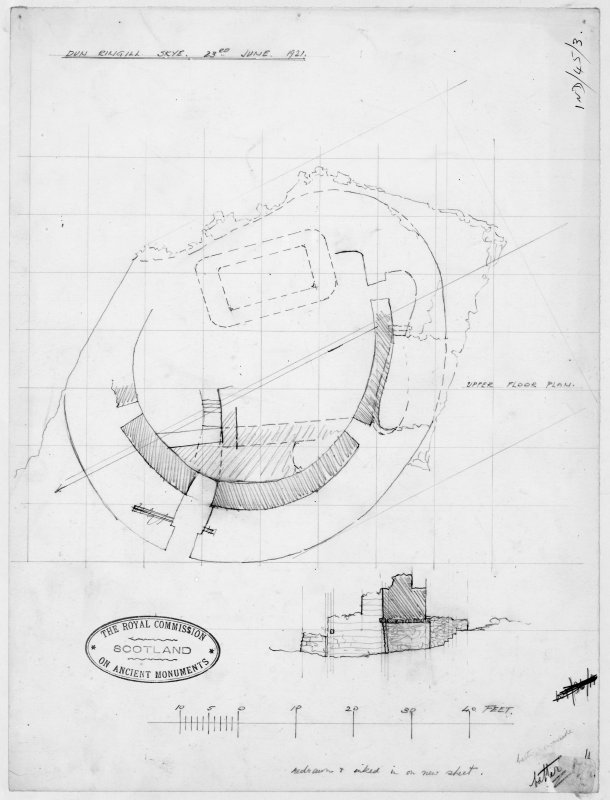 Survey drawing, upper level plan and section through entrance of Dun Ringill.