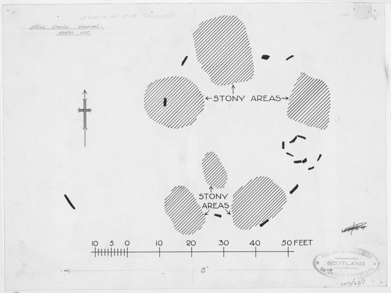 Publication drawing; plan of stone circle at Unival.