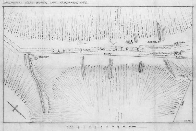 Draft plan of the earthworks near Woden Law, Roxburghshire.