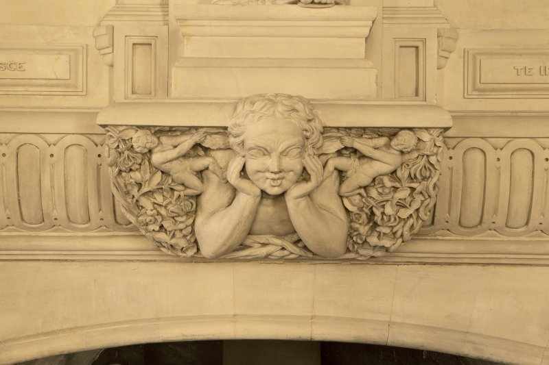 Hospitalfield House, 1st floor, picture gallery, detail of figure on fireplace