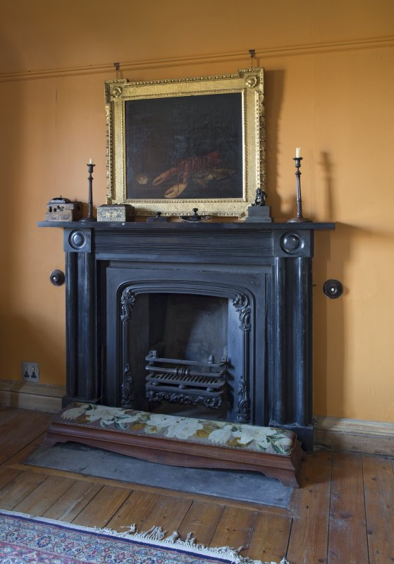 2nd floor, library, detail of fireplace