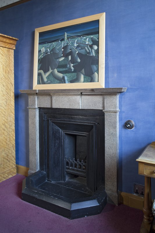 2nd floor, bedroom to north of library, detail of fireplace