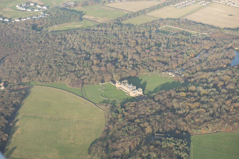 Oblique aerial view centred on Gosford House and policies, looking ENE.