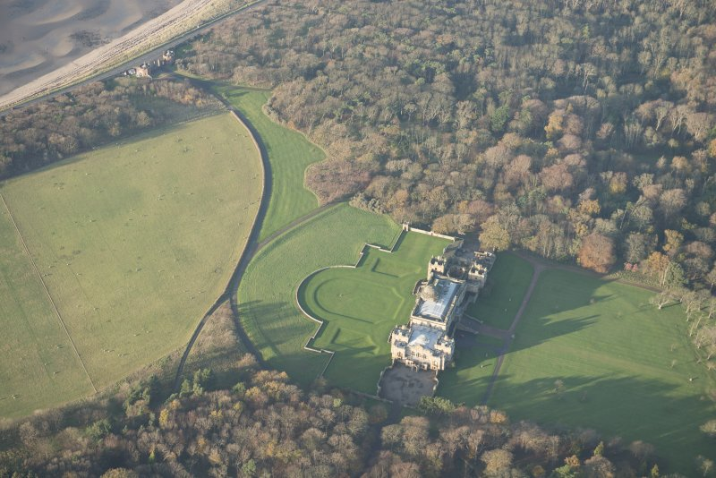 Oblique aerial view centred on Gosford House and policies, looking NW.