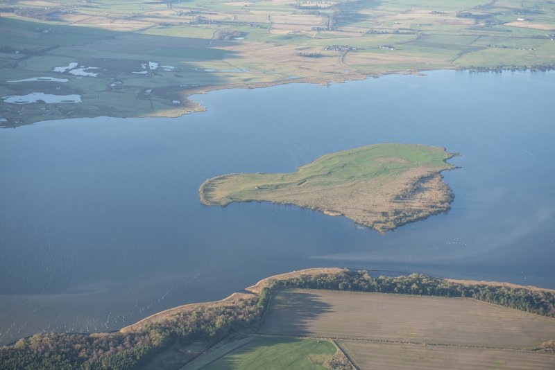 General oblique aerial view of St Serf's Island in Loch Leven, looking WSW.