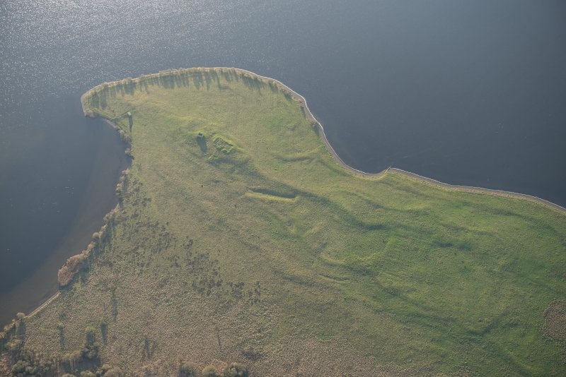Oblique aerial view of St Serf's Island centred on the Priory Church, looking SSE.