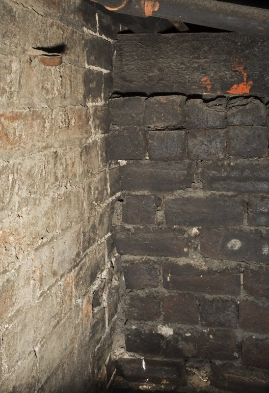 Detail of brickwork and supprt wall under stage.