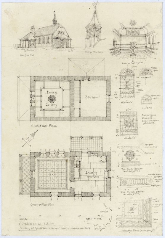 Ornamental dairy, formerly of Guisachan House, Tomich, Inverness-shire. Perspective elevation & interior floor plans & details View from north west; Fleche ventilator; interior looking south west; First Floor plan;  windows; Ground Floor plan; border and terrazzo floor