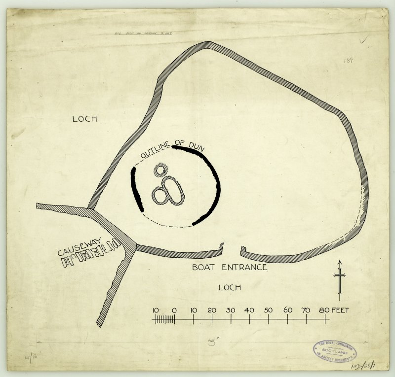Publication drawing; plan of Dun, Loch na Caiginn, Portain.