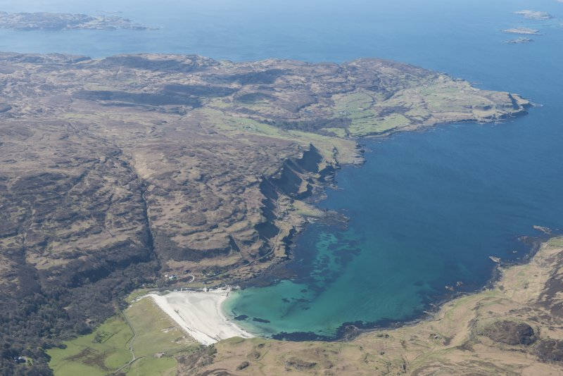 General oblique aerial view of Calgary Bay on the Isle of Mull, looking SW.