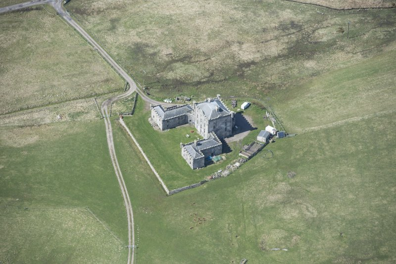Oblique aerial view of Breachacha House on the Isle of Coll, looking W.