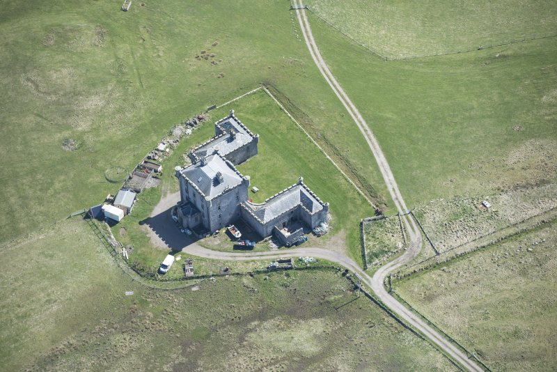 Oblique aerial view of Breachacha House on the Isle of Coll, looking ESE.