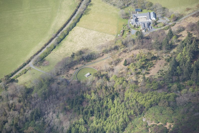 Oblique aerial view of MacQuarie's Mausoleum on the Isle of Mull, looking WNW.