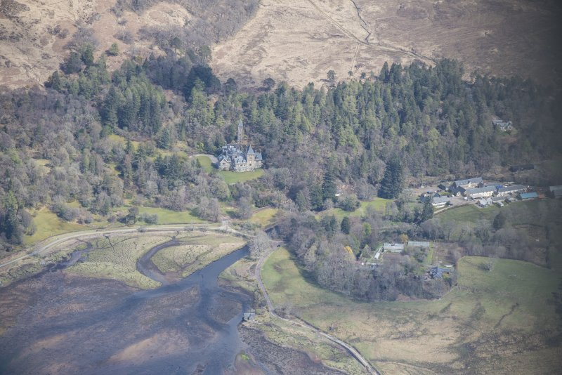 General oblique aerial view of Ardtornish House on the Isle of Mull, looking NE.