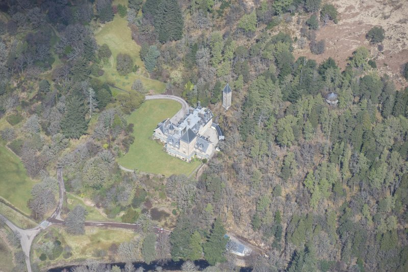 Oblique aerial view of Ardtornish House on the Isle of Mull, looking N.