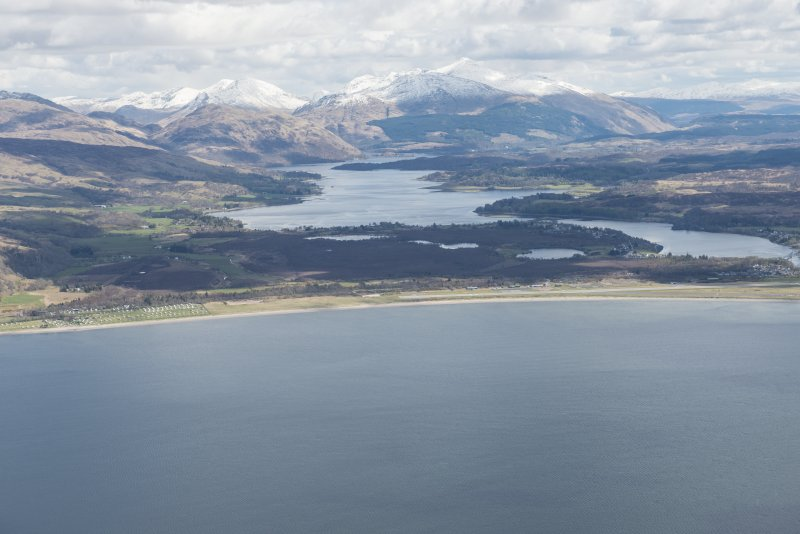 General oblique aerial view of Oban Airport with Loch Etive and Ben Cruachan beyond, looking E.