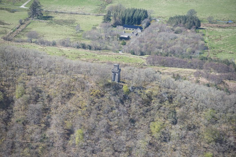 Oblique aerial view of Lady Margaret's Tower Observatory, looking WNW.