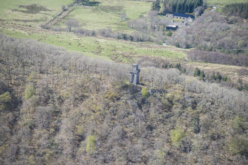 Oblique aerial view of Lady Margaret's Tower Observatory, looking N.
