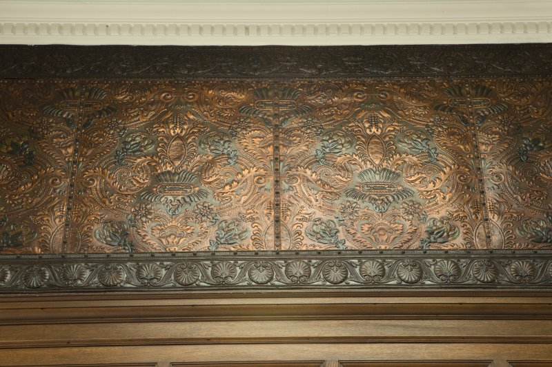 Level 3, main staircase, detail of wallpaper frieze