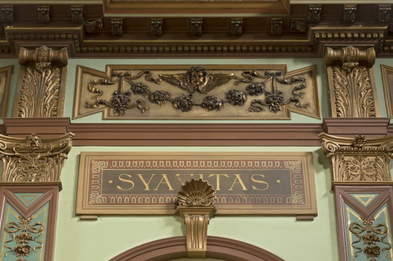 Level 3, great hall, detail of decorative panel at ceiling level