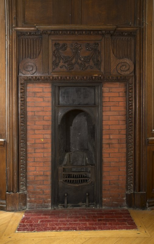 Level 3, south wing, billiard room, detail of small fireplace in south west turret