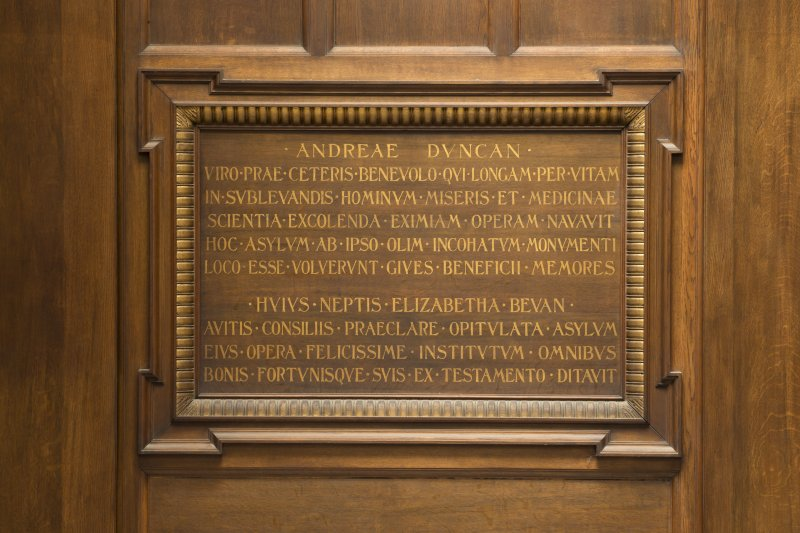 Level 3, south wing, billiard room, detail of commemorative plaque
