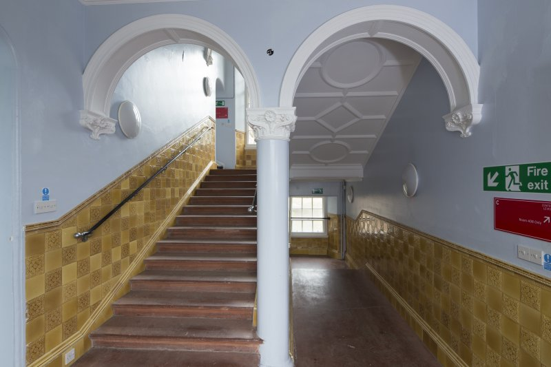 Level 4, gold tiled staircase, view from north