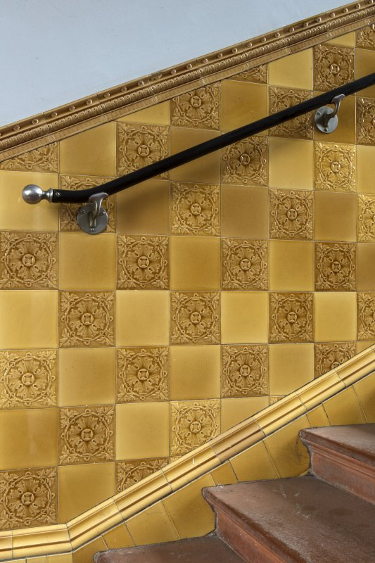 Level 4, gold tiled staircase, detail of tilework