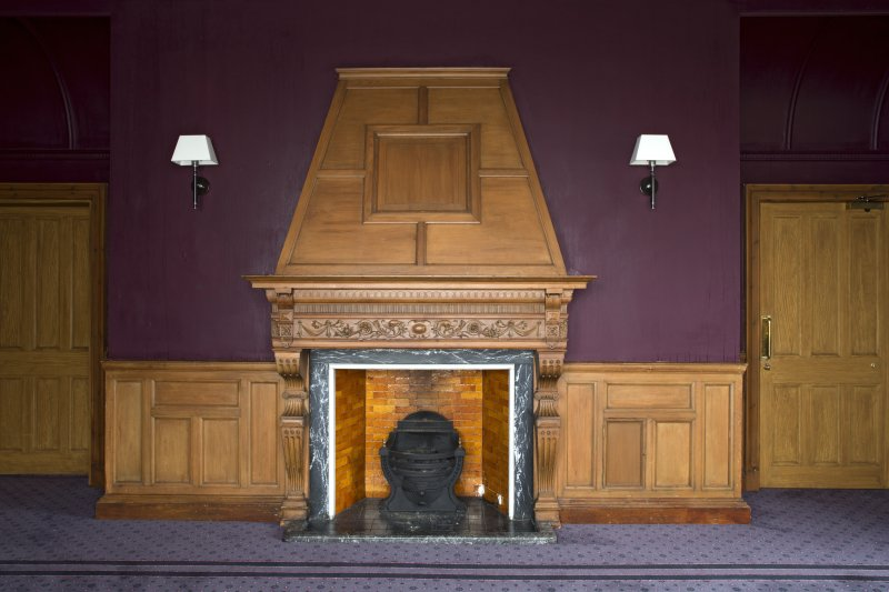 Level 3, north wing, north west dining room, view of fireplace