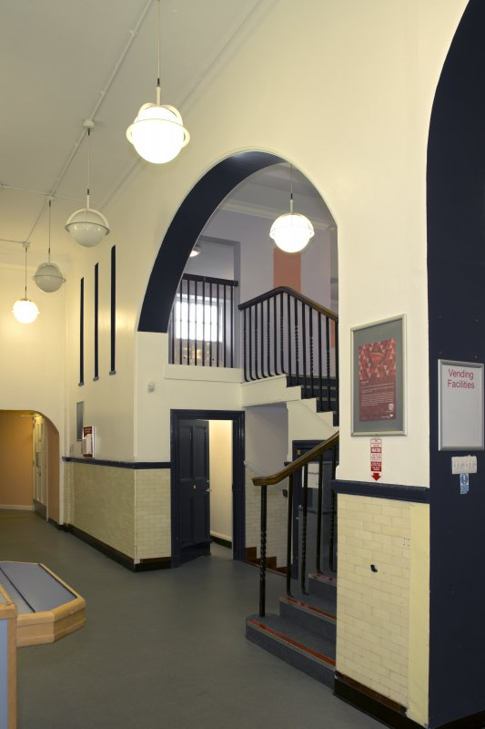 Level 2, former canteen, general view of staircase from