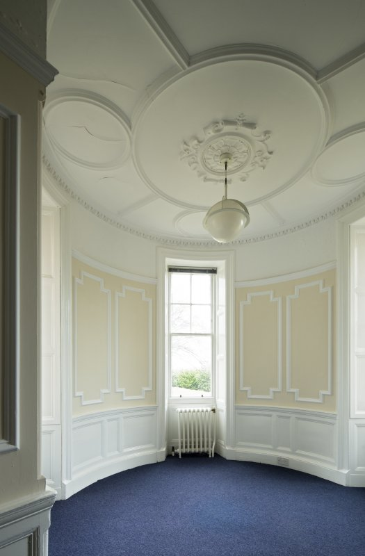 Level 4, west wing, north west corner room. view of turret with decorated ceiling