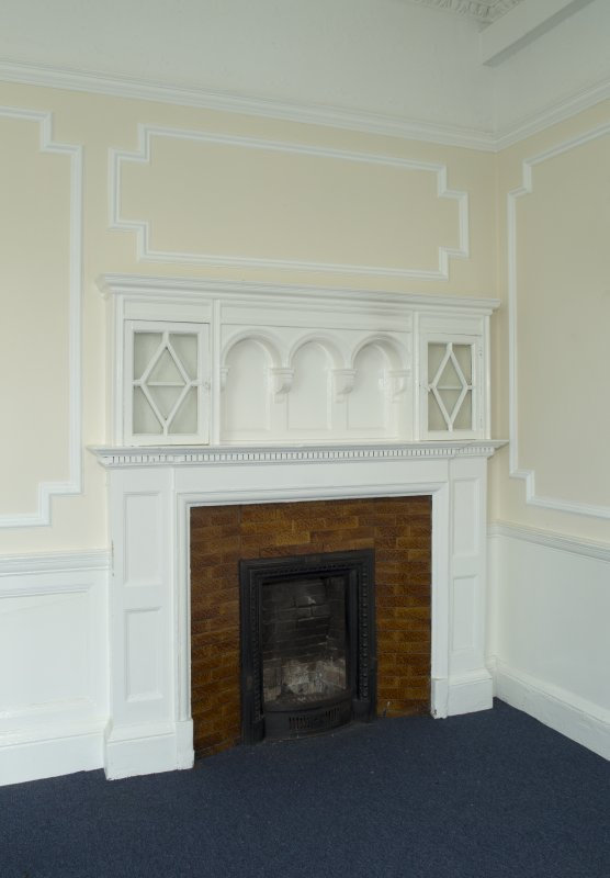 Level 4, west wing, north west corner room, detail of fireplace
