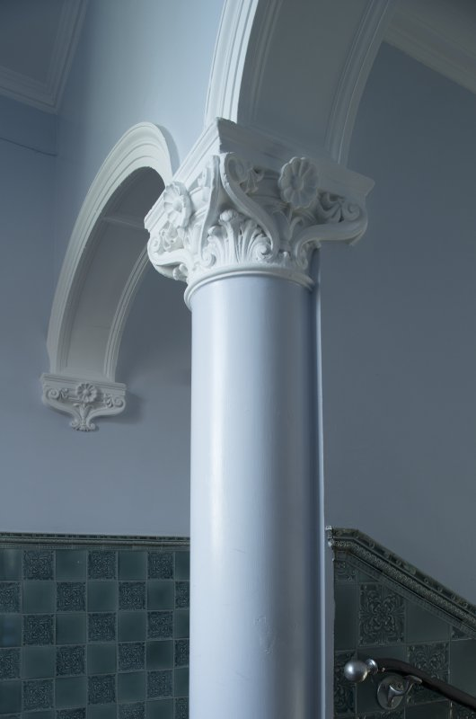 Level 5, green stair, detail of column capital