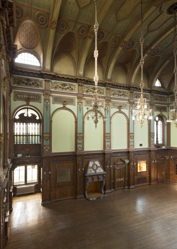 Level 5, great hall, view from gallery to south east
