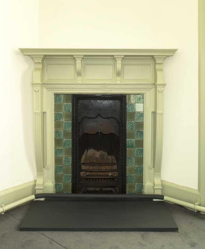Level 6, west room, detail of fireplace