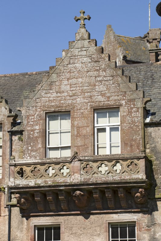South east facade, detail of gable with balcony