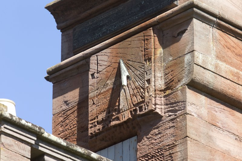 South east facade, sundial on tower, detail of south west face
