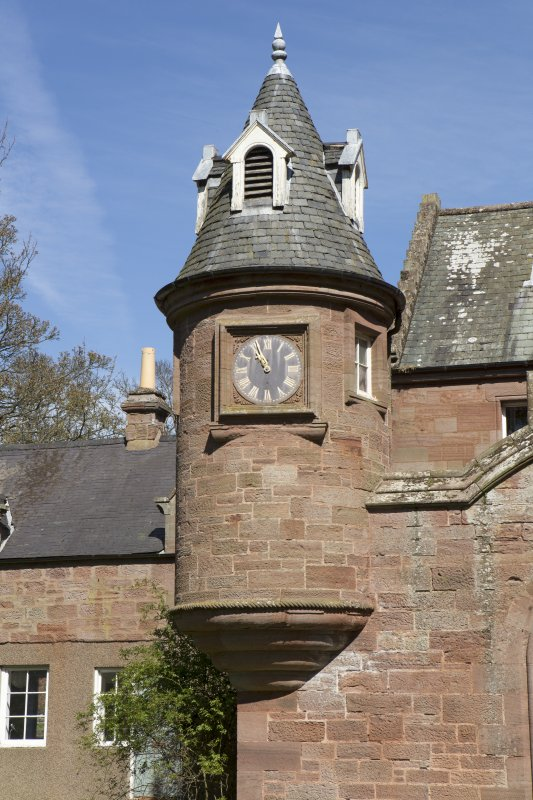Entrance to north west courtyard, detail of clock turret