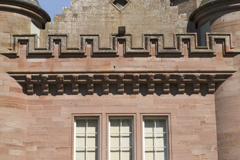 Gallery, detail of parapet with carved corbelling