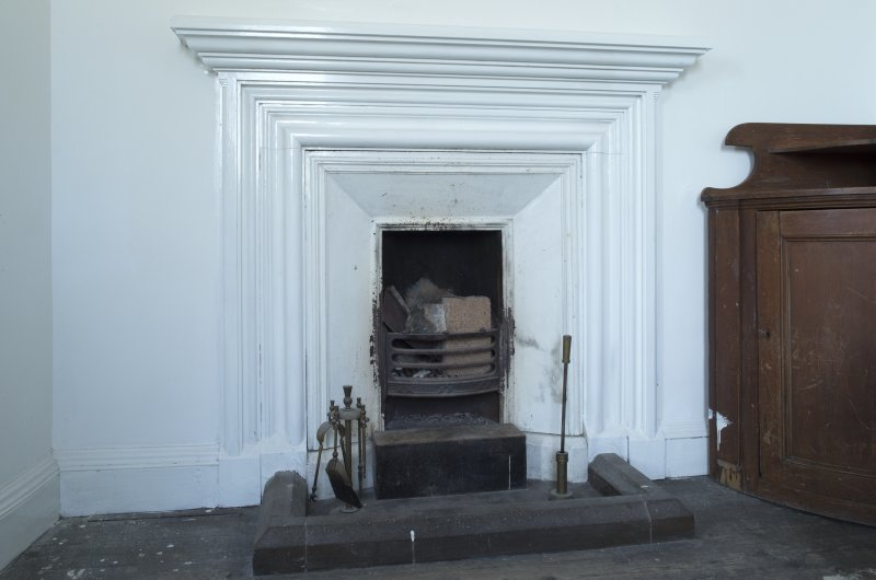 Main tower, 2nd floor room, detail of fireplace