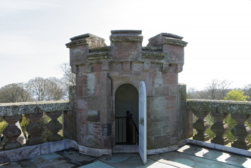 Main tower, roof turret, view from north