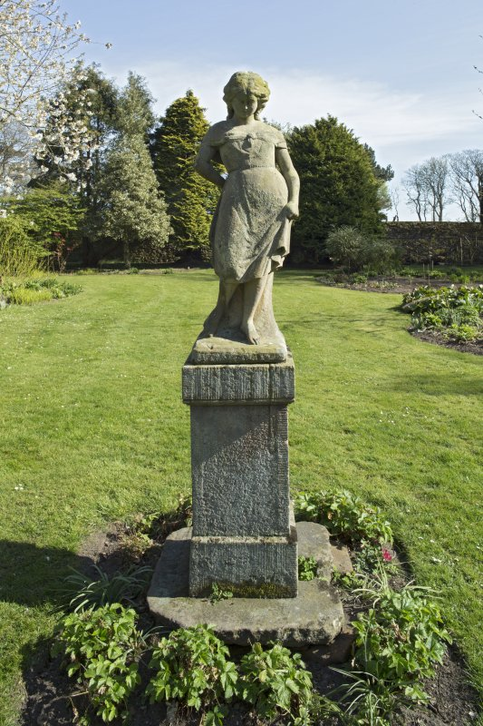 Walled garden, view of statue