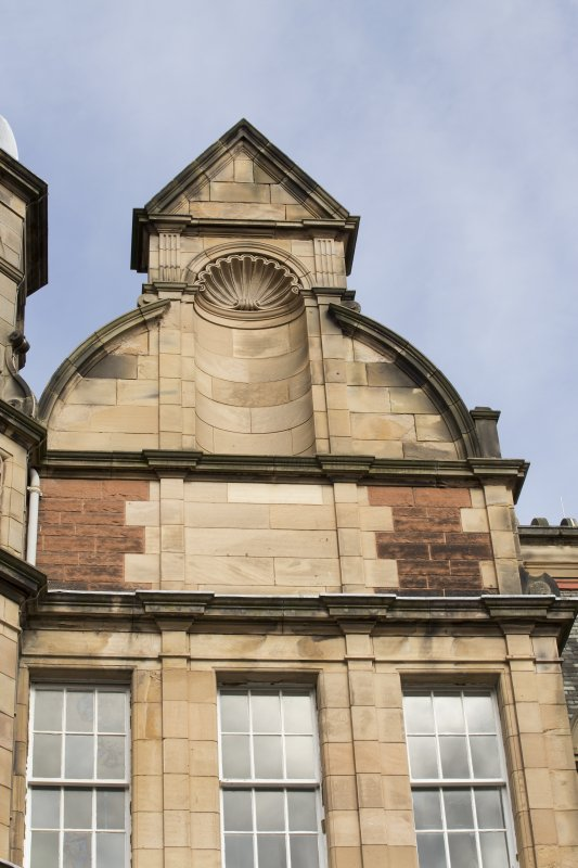 Detail of pediment on the south facing elevation of the east wing.