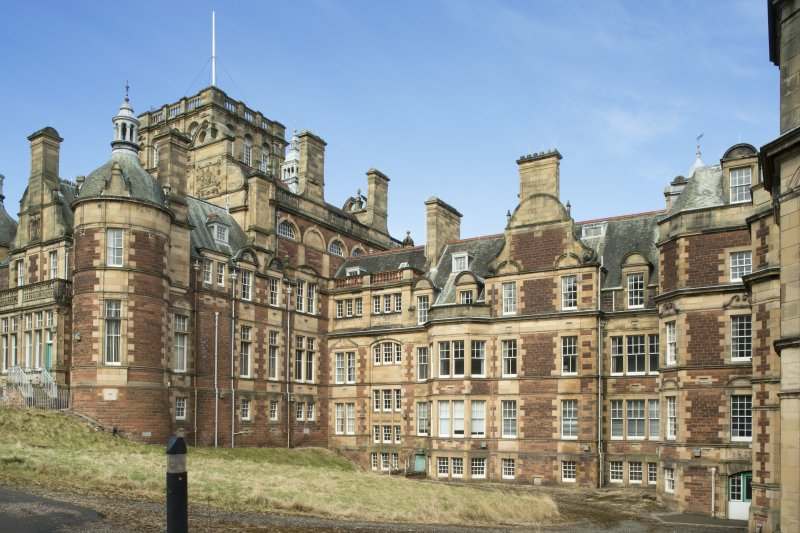 General view of the south facing elevation of the east wing, taken from the south east.
