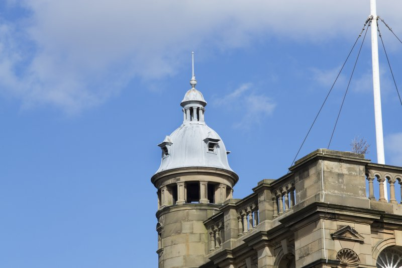 Detail of cupola and bellcote on the turret of the main tower, view taken from the south west.