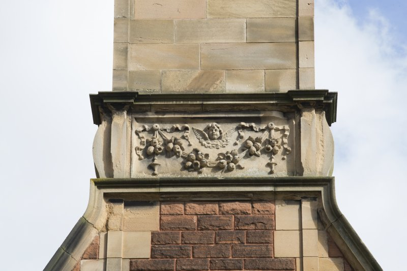Detail of motif on chimney, south wing, wet elevation.
